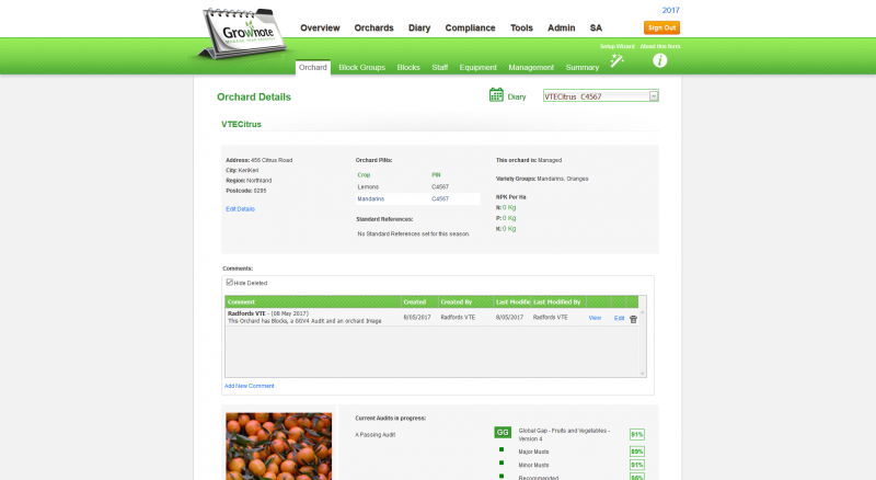 Orchard Details